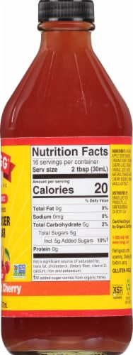 Bragg Organic Orange Tart Cherry Enhanced Apple Cider Vinegar Perspective: right