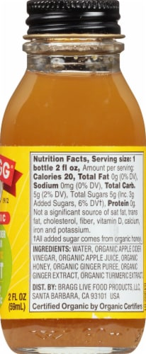Bragg Organic Apple Cider Vinegar Ginger Turmeric Prebiotic Shot Perspective: right