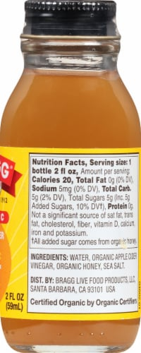 Bragg Organic Apple Cider Vinegar Honey Prebiotic Shot Perspective: right
