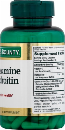 Nature's Bounty Glucosamine Chondroitin Capsules 110 Count Perspective: right