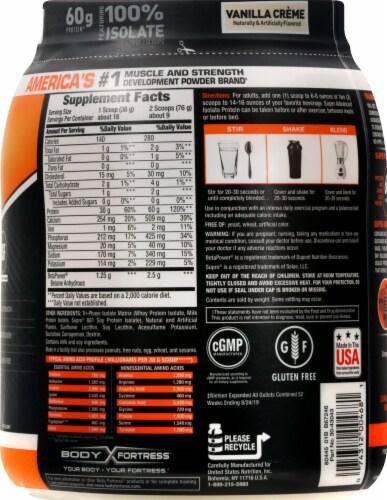 Body Fortress Super Advanced Vanilla Creme Isolate Protein Powder Perspective: right