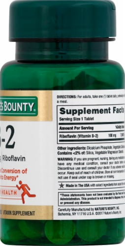 Nature's Bounty B2 Tablets 100mg Perspective: right
