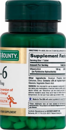 Nature's Bounty B6 Tablets 100mg Perspective: right
