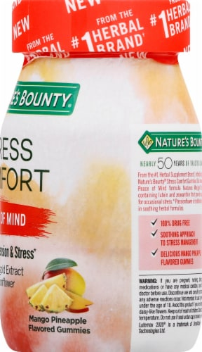 Nature's Bounty Stress Comfort Peace of Mind Mango Pineapple Flavored Gummies 42 Count Perspective: right