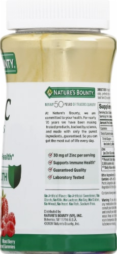 Nature's Bounty Zinc Mixed Berry Flavored Gummies 30mg Perspective: right