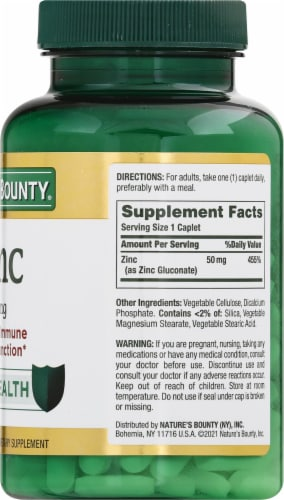 Nature's Bounty Zinc Caplets 50mg Perspective: right