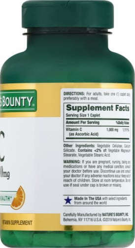 Nature's Bounty Vitamin C Caplets 1000mg Perspective: right