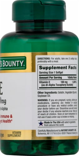 Nature's Bounty Vitamin E Pure dl-Alpha Rapid Release Softgels 180mg Perspective: right