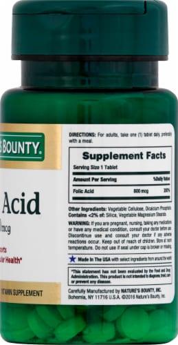 Nature's Bounty Folic Acid Tablets 800mcg Perspective: right