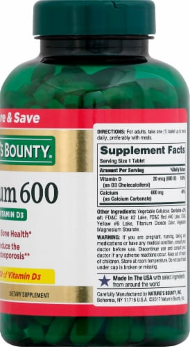 Nature's Bounty Calcium 600 with Vitamin D3 Tablets Perspective: right