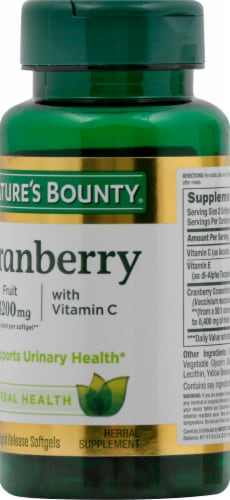 Nature's Bounty Cranberry with Vitamin C Rapid Release Softgels 4200mg Perspective: right