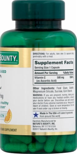 Nature's Bounty Time Release Vitamin C Capsules 500mg Perspective: right