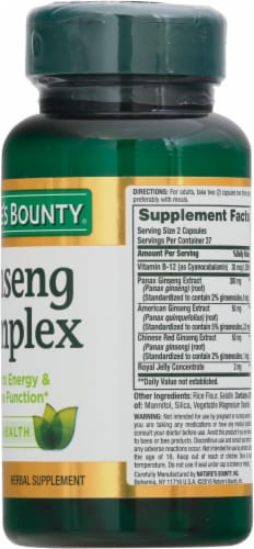 Nature's Bounty Ginseng Complex Capsules Perspective: right