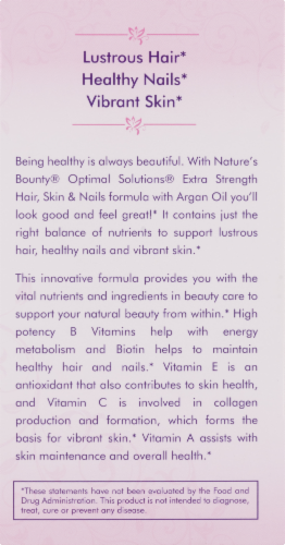 Nature's Bounty Extra Strength Hair Skin & Nails Argan Oil Infused Softggels 5000mcg Perspective: right
