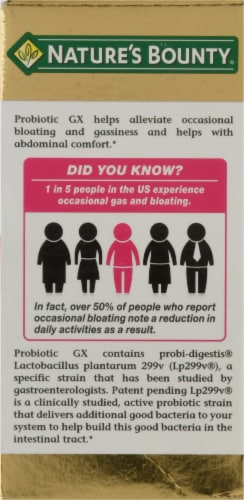 Nature's Bounty Probiotic GX Gas & Bloating Formula Capsules Perspective: right