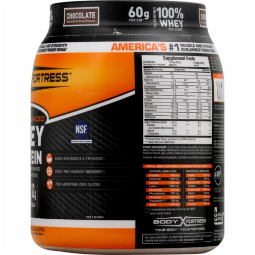 Body Fortress Chocolate Whey Protein Powder Perspective: right