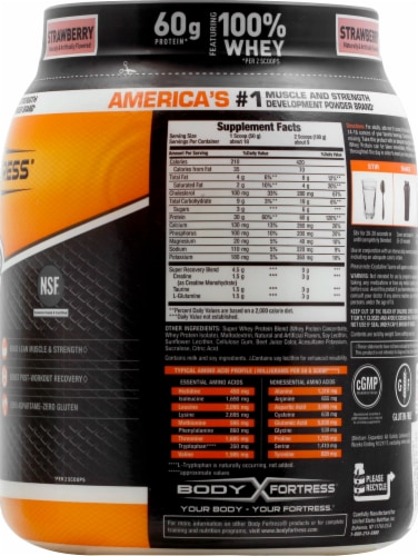 Body Fortress Super Advanced Strawberry Whey Protein Powder Perspective: right