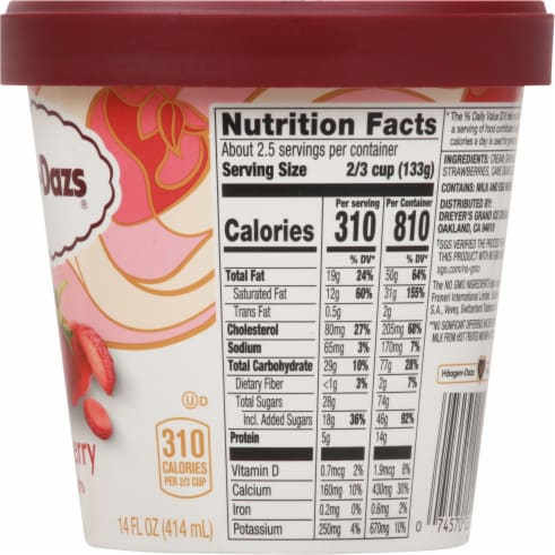 Haagen-Dazs Strawberry Ice Cream Perspective: right