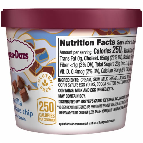 Haagen-Dazs Gluten Free Vanilla Chocolate Chip Ice Cream Cup Perspective: right
