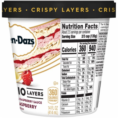 Haagen-Dazs Crisy Trio Layers Lemon & Raspberry Ice Cream Perspective: right