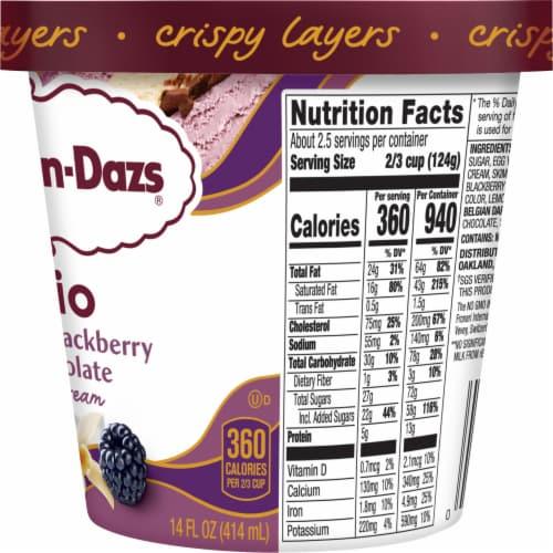Haagen-Dazs Vanilla & Blackberry Belgian Chocolate Trio Crispy Layers Ice Cream Perspective: right