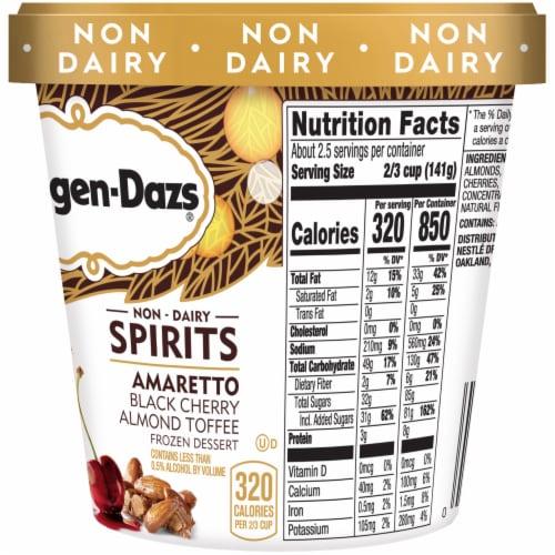 Haagen-Dazs Non-Dairy Spirits Amaretto Black Cherry Almond Toffee Ice Cream Perspective: right