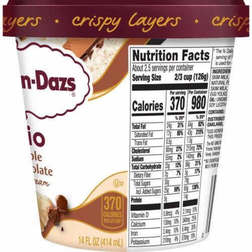 Haagen-Dazs White & Milk Chocolate Trio Crispy Belgian Chocolate Layers Ice Cream Perspective: right