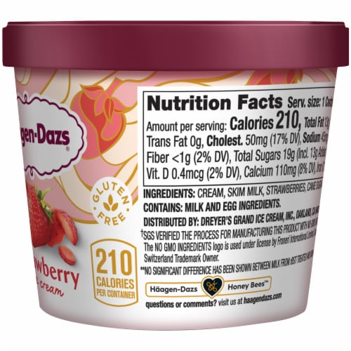Haagen-Dazs Gluten Free Strawberry Ice Cream Cup Perspective: right