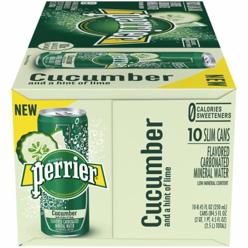Perrier Cucumber Lime Flavored Carbonated Mineral Water 10 Cans Perspective: right