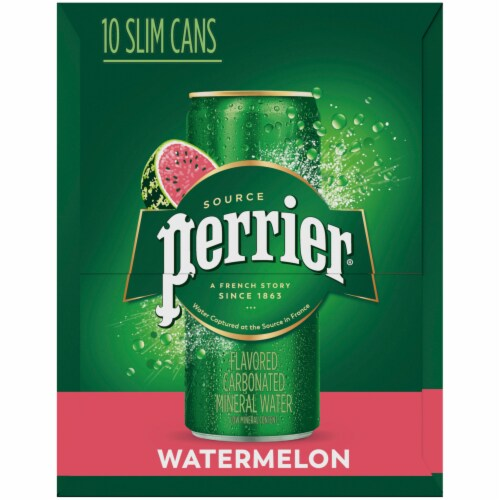 Perrier Watermelon Sparkling Natural Mineral Water 10 Cans Perspective: right
