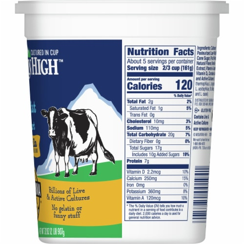 Mountain High Lowfat Vanilla Yoghurt Perspective: right