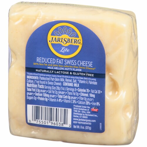 Jarlsberg Lite Reduced Fat Swiss Cheese Wedge Perspective: right