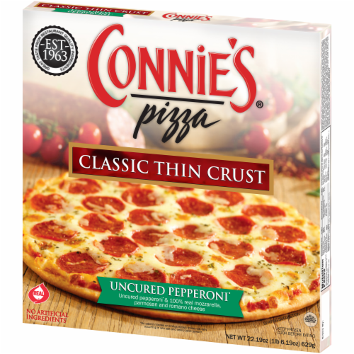 Connie's Classic Thin Crust Uncured Pepperoni Pizza Perspective: right