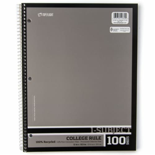 Top Flight Recyled Basics College Rule 1-Subject Notebook - 100 Sheets - Assorted Perspective: right