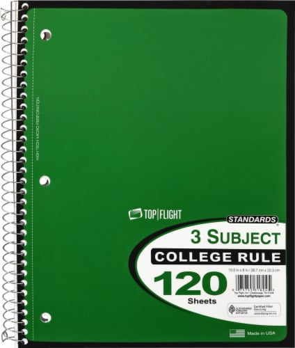 Top Flight College Ruled 3-Subject Notebook - 120 Sheets - Assorted Perspective: right
