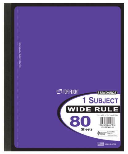Top Flight Wide Rule 1-Subject Wireless Notebook - 80 Sheets - Assorted Perspective: right