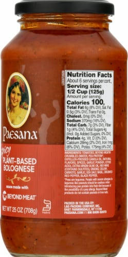 Paesana Spicy Plant-Based Bolognese Sauce Perspective: right