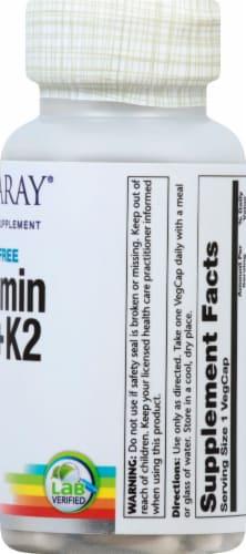 Solaray Vitamin D3+K2 Soy-Free VegCaps 5000 IU Perspective: right