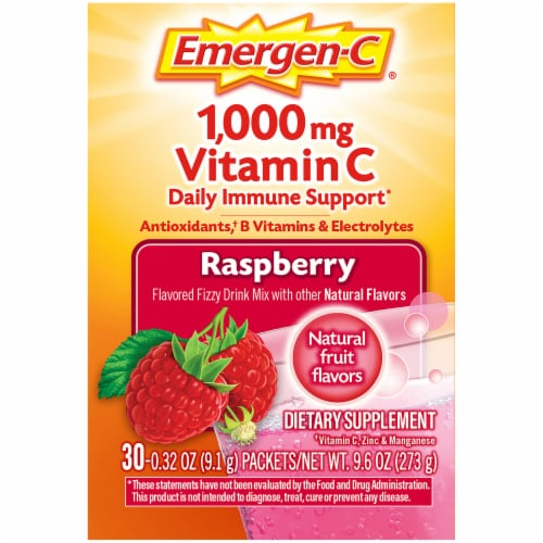 Emergen-C Raspberry Vitamin C Immune Supplement Fizzy Drink Mix Packets 1000mg Perspective: right