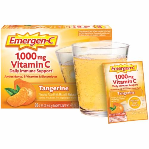 Emergen-C® Tangerine Vitamin C Immune Supplement Fizzy Drink Mix Packets 1000mg Perspective: right