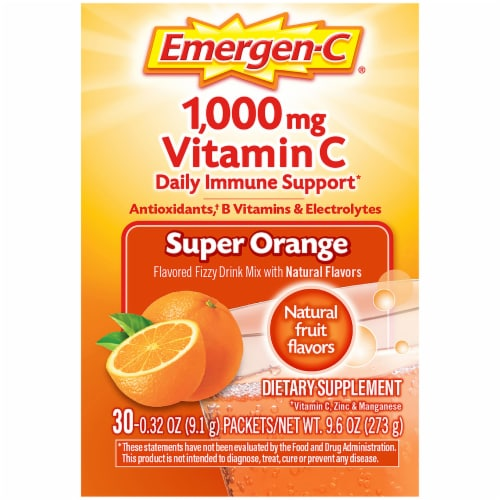Emergen-C Super Orange Vitamin C Immune Supplement Fizzy Drink Mix Packets 1000mg Perspective: right