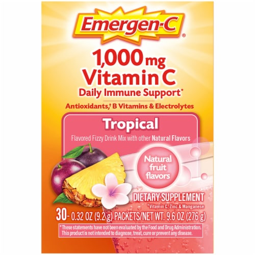 Emergen-C Tropical Dietary Supplement Fizzy Drink Packets Perspective: right