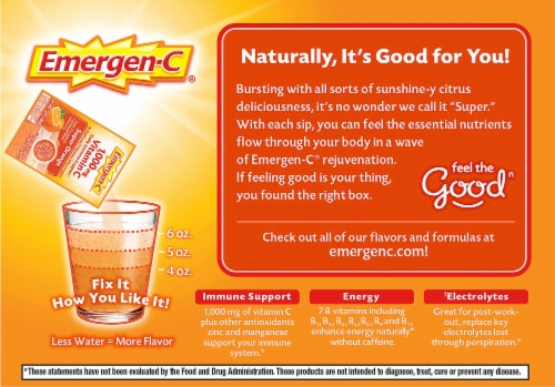 Emergen-C Super Orange Flavored Fizzy Vitamin C Drink Mix Packets 1000 mg Perspective: right