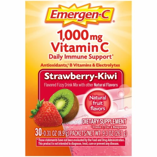 Emergen-C Strawberry-Kiwi Dietary Supplement Fizzy Drink Packets Perspective: right