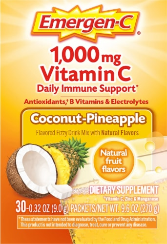 Emergen-C Coconut-Pineapple Dietary Supplement Fizzy Drink Mix Packets Perspective: right