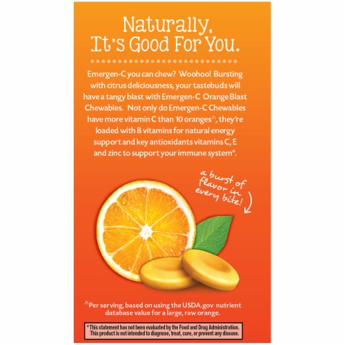 Emergen-C Chewables Orange Blast Dietary Supplement Chewable Tablet Perspective: right