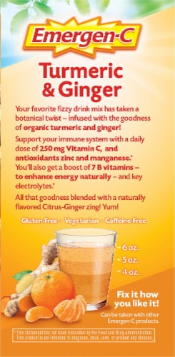 Emergen-C Turmeric & Ginger Citrus-Ginger Dietary Supplement Fizzy Drink Mix Packets 250mg Perspective: right