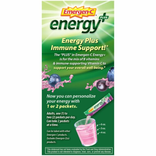 Emergen-C Energy Plus Blueberry-Acai Caffeine Fizzy Drink Mix Packets Perspective: right