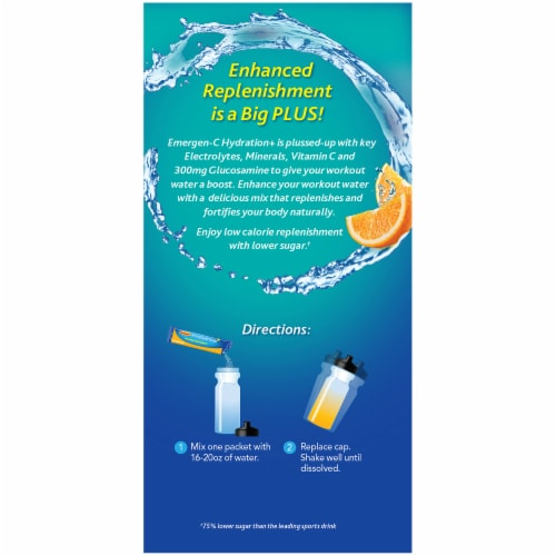 Emergen-C Hydration+ Electrolyte Replenishment Orange Sports Drink Mix Packets Perspective: right