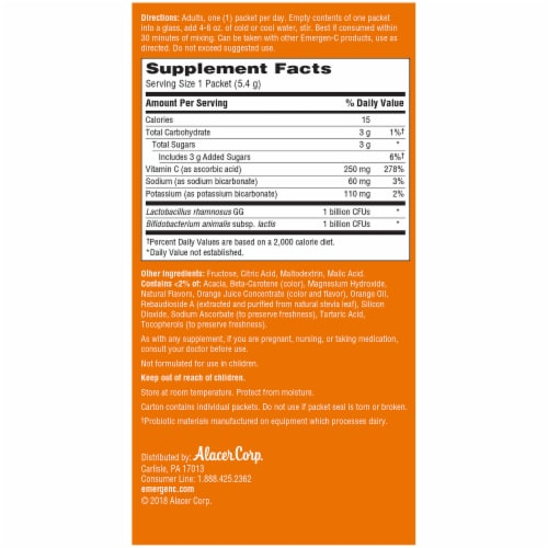 Emergen-C Probiotics Plus Orange Daily Immune Health Dietary Supplement Drink Mix Perspective: right